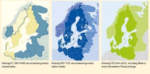 Figure 1: The spatial evolution of EU Interreg programs for the Baltic Sea region