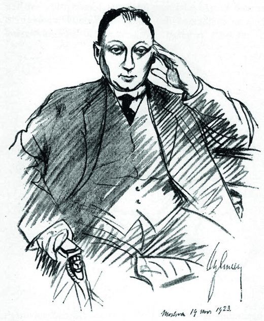 Aschberg depicted by his friend Albert Engström in Moscow 1923.