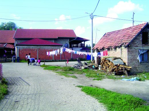 An isolated Roma settlement with little infrastructure in Croatia.