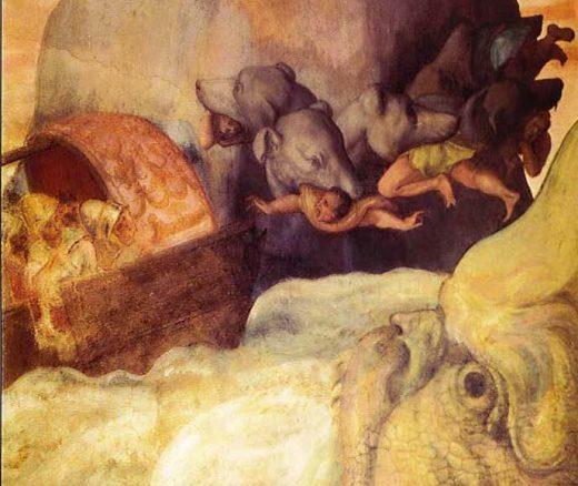 Odysseus boat between Scylla and Charybdis. Italian fresco ca 1575.