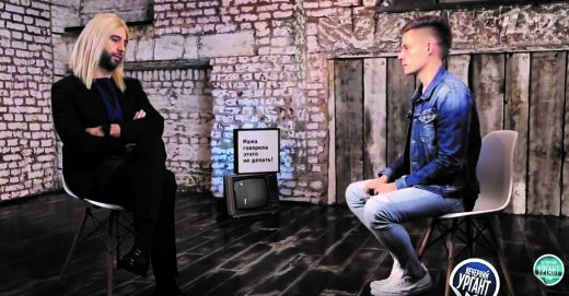 Parody of Sobchak's participation in Dud's show.