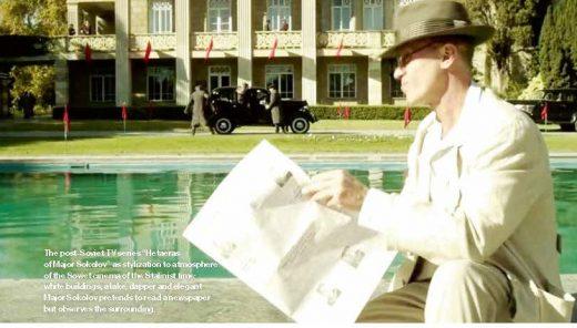 Major Sokolov pretends to read a newspaper