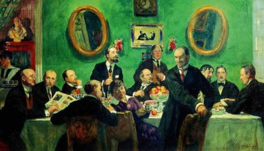 Members of the World of Art Movement, by Boris Kustodiev (1916–1920). The artist and art collector Alexander Benois is seated in the center of the painting, surrounded by other members of Mir iskusstva