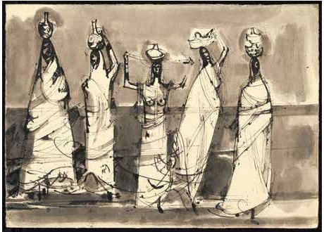 Walking Women from the series India, ink, 1956.
