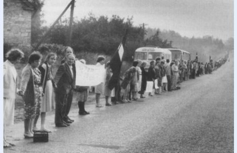 About two million people joined hands across the Baltic states on August 23, 1989, forming a unique human chain