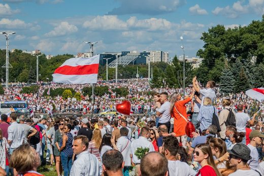 Protest rally against Lukashenko, 16 August. Minsk, Belarus. PHOTO: Homoatrox