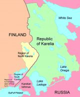 The Republic of Karelia Status: Subject of the Russian Federation, part of its Northwestern Federal District. Geography: Area: 172,400 km2. 723 km border with Finland, located south of the White Sea, with the two largest lakes in Europe, Ladoga and Onega. Capital: Petrozavodsk on the western shore of Onega. 280,000 inhabitants. Head of the Republic: Artur Parfenchikov Population: 643,548 (census of 2010), 622,484 (2018 estimate) Density: 3.7 per km2 Urban: 78% Nationalities: Russians: 82% Karelians: 7.4% (45,570) Belarusians: 3.8% (23,345) Ukrainians: 2% (12,677) Finns: 1.4% (8,577) Vepsians: 0.5% (3423) Official language: Russian. Since 2004, Karelian, Veps and Finnish have also been recognized.