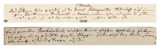 Fig. 10 Handwriting of F. W. Bergholtz. Top: caption to THC 9076:90 (Palace of Police Chief Tatishcheff); Bottom: caption to THC 3472 (An Old Believer). Numerous additional examples of Bergholtz's hand can be found in the captions to the architectural drawings on the Swedish National Museum's online collection.