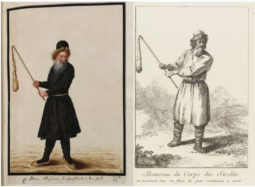 """Fig. 13 Left: THC 3491 v– A peasant with his flail in hand; Right, J. B. Le Prince, """"Executioner of the Streltsy"""" in Les Strelits: Encienne et seule milice de Russie jusqu'qu temps de Pierre le Grand (1764)."""