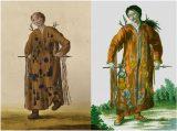 Fig. 14 Mongol Shaman with arrow. Left: THC 3450 – A Mongolian shaman who pierces his clothing with an arrow; Right: A Tungus Shaman from the River Argun. J. G. Georgi, Opisanie vsekh obitaiushchikh v Rossiiskom gosudarstve narodov (1777–1778; 1799).