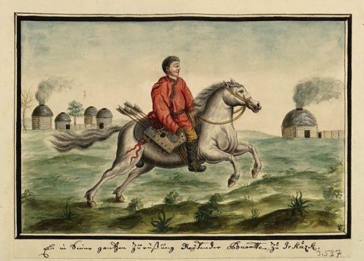 Fig. 7 A Buryat rider in all his armor at Irkutsk. Buryat winter yurts shown in background (THC 3527).