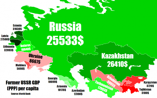 Former USSR GDP (PPP) in 2019. Source: reddit.com.